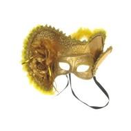 Oogmasker dames venetie goud + hoed