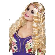 Pruik hippie met hoofdband blond