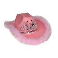 Roze cowboyhoed met tiara