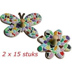 Cristallo Kledinghanger Bloem/Vlinder 2x15 stuks mozaiekpakket
