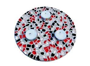 Cristallo Waxinelichthouder Rood-Zwart-Wit