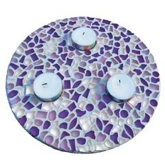 Cristallo Mozaiek pakket Waxinelichthouder Wit-Paars-Violet