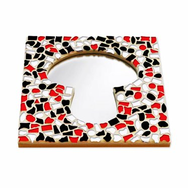 Cristallo Mozaiek pakket Spiegel Paddenstoel Rood-Zwart-Wit