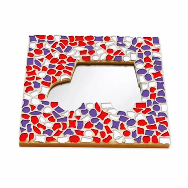 Cristallo Mozaiek pakket Spiegel Auto Rood-Wit-Paars