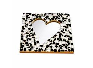 Cristallo Mozaiek pakket Spiegel Hart Zwart-Wit