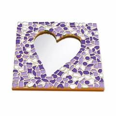 Cristallo Mozaiek pakket Spiegel Hart Wit-Paars-Violet