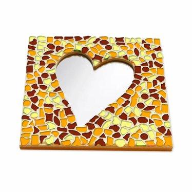 Cristallo Mozaiek pakket Spiegel Hart Bruin-Oranje-Geel