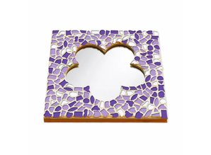 Cristallo Mozaiek pakket Spiegel Bloem Wit-Paars-Violet