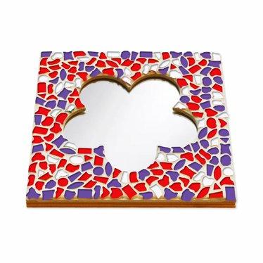 Cristallo Mozaiek pakket Spiegel Bloem Rood-Wit-Paars