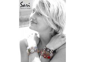 Sari Design lederen band, licht blauw