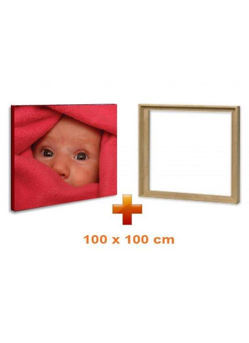 Eigen foto op canvas 100 x 100 cm met baklijst