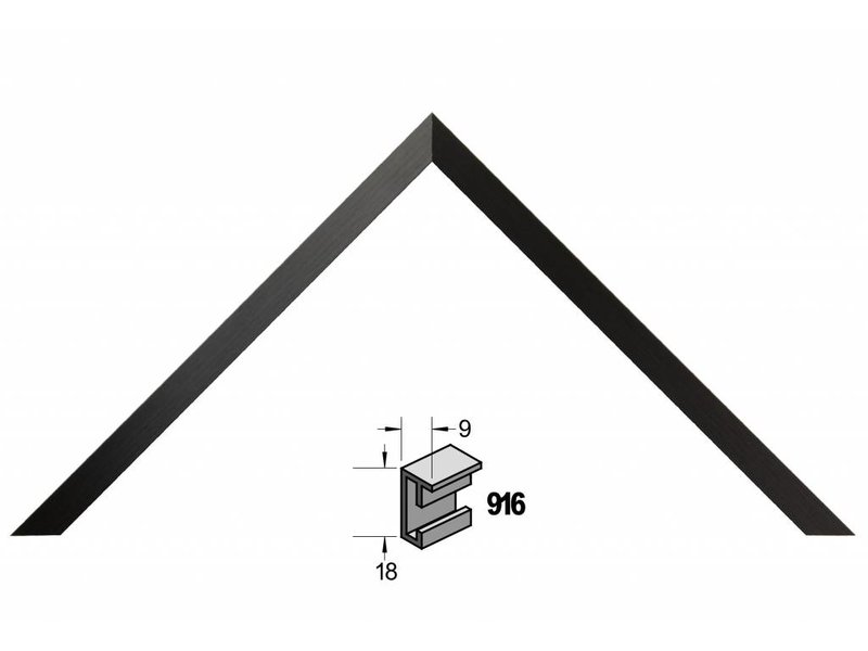 Barth Wissellijst aluminium wissellijst 916GZW geschuurd zwart