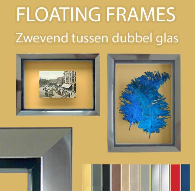 Floating lijsten - Inlijsten tussen 2 glasplaten