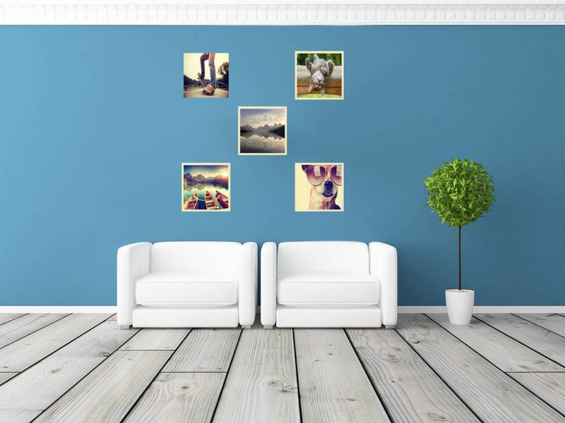 DLF Collage met 20 x 20 cm Basic Line houten wissellijsten blank hout, met extra voordeel