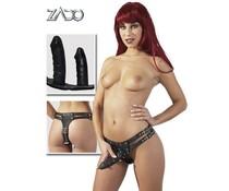 Zado Lederen Slip met 3 Dildo's