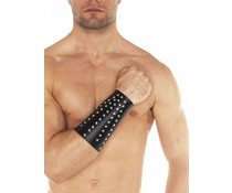 Rimba Real Leather & BDSM Brede Armband met Studs
