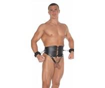 Rimba Real Leather & BDSM Taillekorset met Cockring en Handboeien