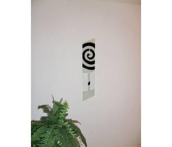 Carneol Wanduhr mit Klöppel - Swirls - Weiß-Schwarz - asymmetrisch