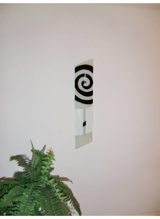 Carneol White-black wall clock a-symmetrisch - Swirls
