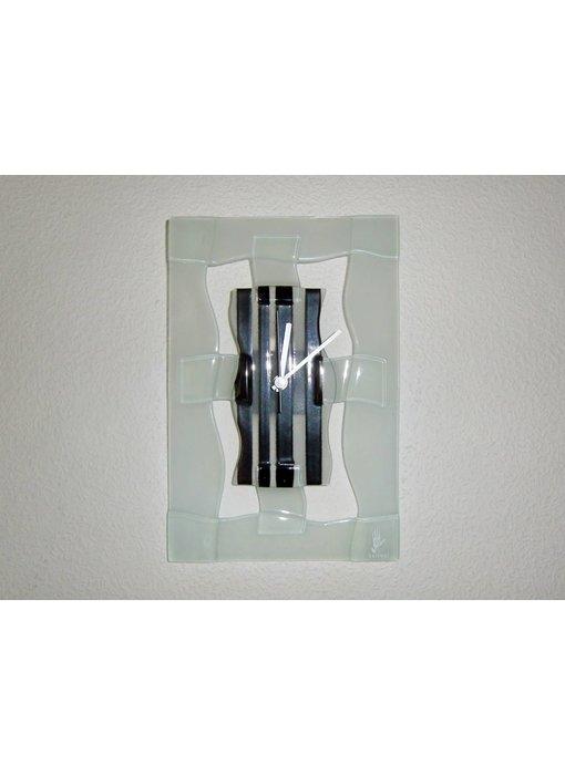 Carneol Wall Clock - Stripy black-white - plane model