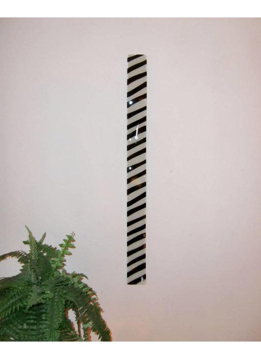 Carneol Lange Wanduhr - Zebra design - weiß-schwarz 98 cm