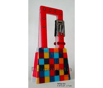 Elena Glasfusie kunst als tafellamp met blok patroon