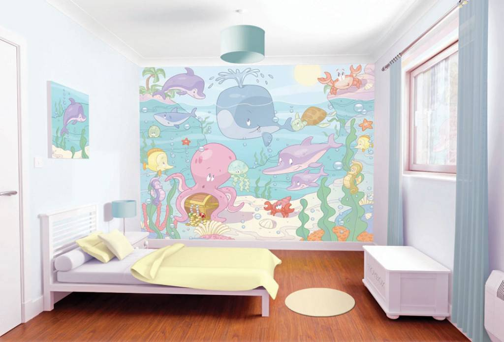 Babykamer Behang Groen : Ocean Sea Theme Girls Bedroom