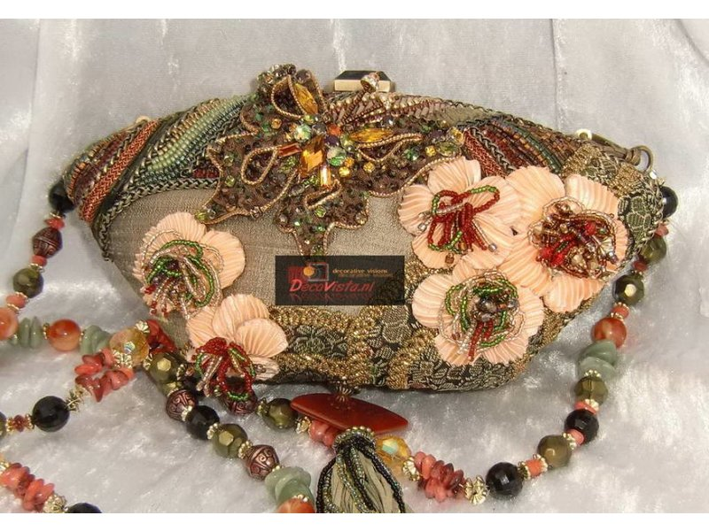 Mary Frances Cherry Blossom- Mary Frances handbag / minibag / evening bag / clutch