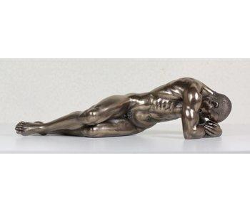 BodyTalk Brons gepatineerd sculptuur liggende atleet - L