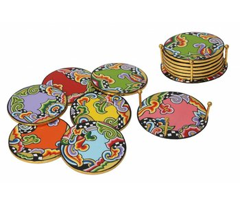 Toms Drag Coasters in caddy, set of 7 pieces