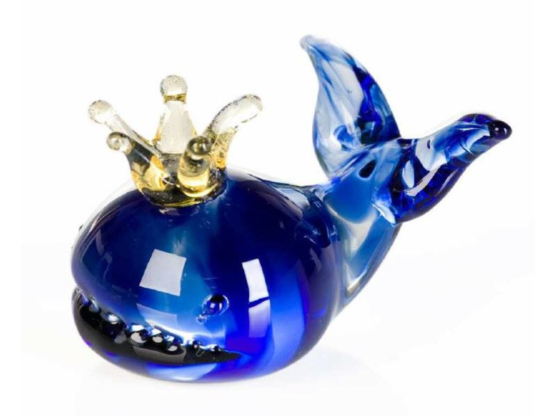 Vetro Gallery Glas sculpture Whale with Crown