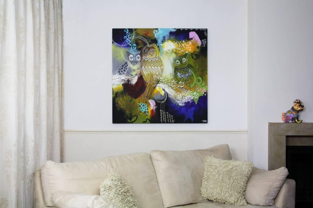 Uilen green decovista kunst en interieur - Deco schilderij slaapkamer jongen ...