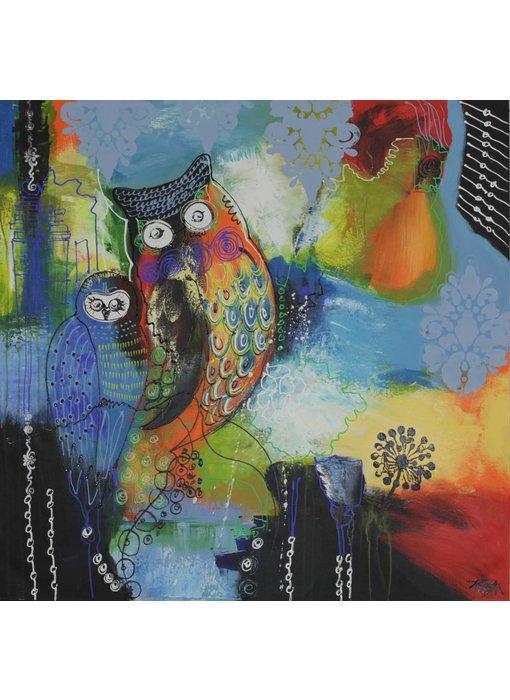 Schilderij met uilen - blauw