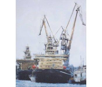 Industrieel schilderij Scheepswerf - mixed-art