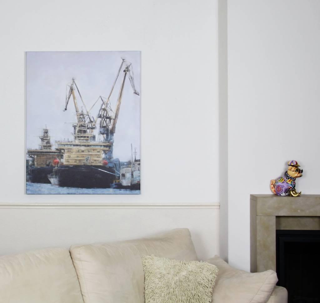 Industrieel schilderij scheepswerf mixed art decovista kunst en interieur - Deco schilderij slaapkamer kind ...