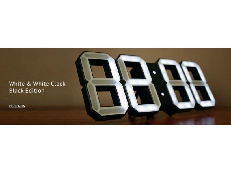 Kibardin Kibardin's White & White Alarm klok - black edition