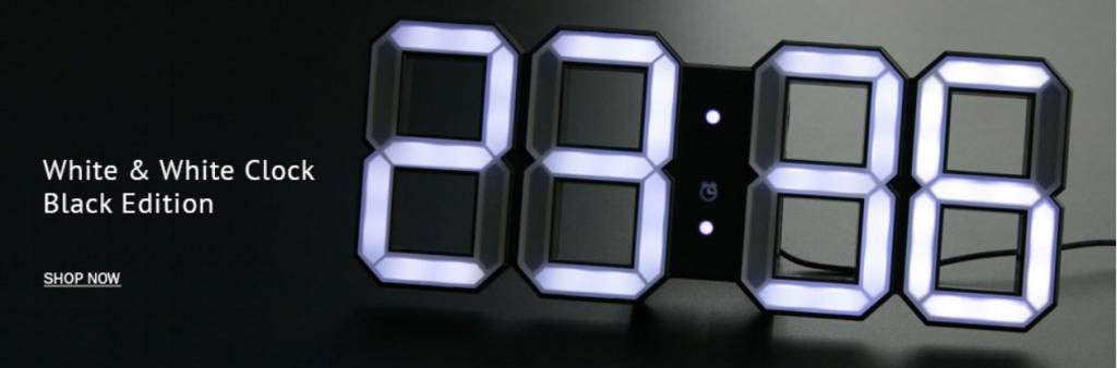 kibardin kibardin white white digitale led uhr black edition decovista farbenfrohe. Black Bedroom Furniture Sets. Home Design Ideas