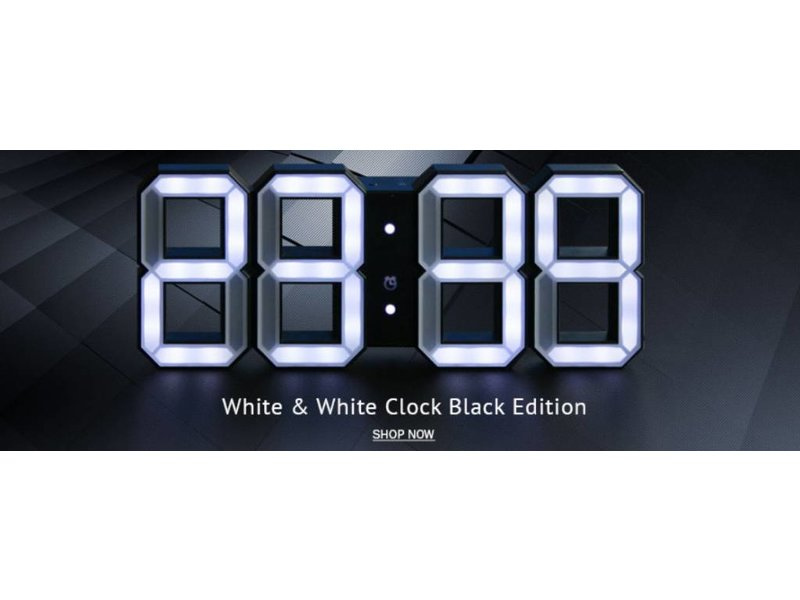 Kibardin Kibardin White & White  digitale LED Uhr - black edition