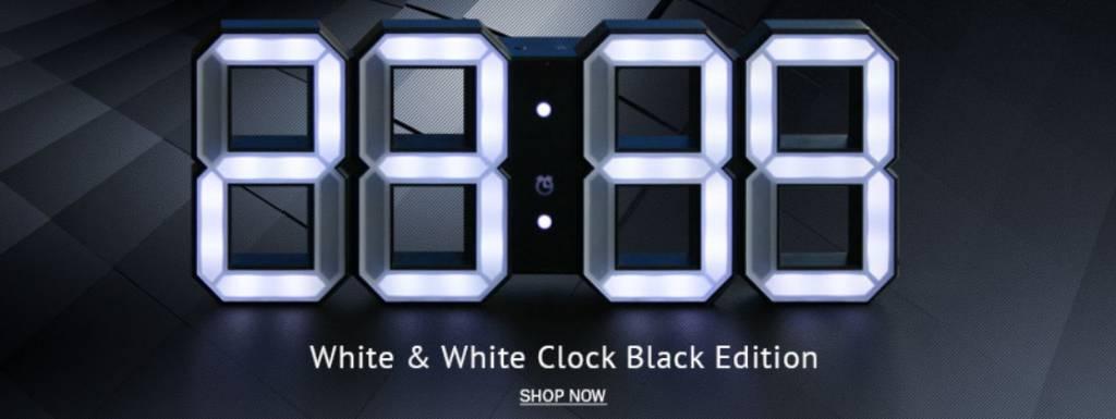 kibardin kibardin white white digitale led uhr black. Black Bedroom Furniture Sets. Home Design Ideas