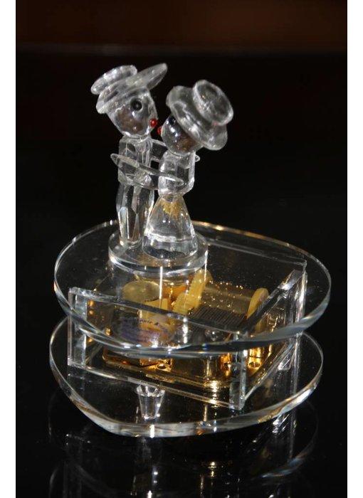 Kristallen speeldoos - Hart / paartje muziekdoos