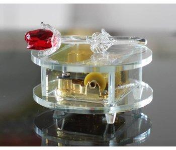 Kristallen speeldoos - Rode roos muziekdoos