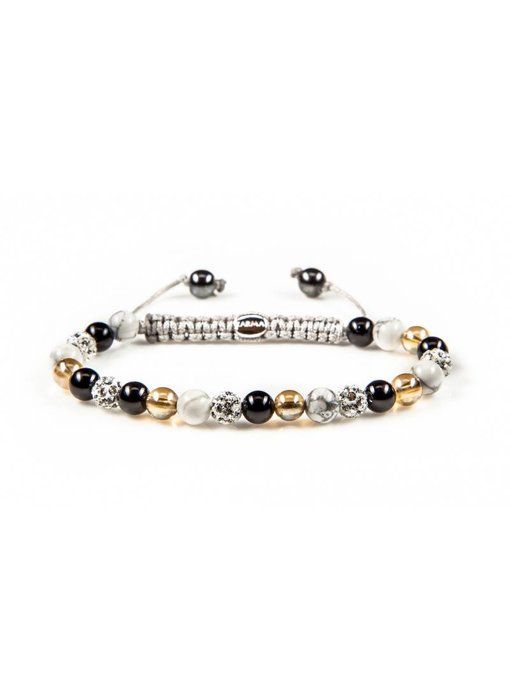 Karma Armband  Black meets Gold XS