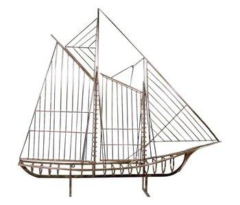 C. Jeré Sculpture Sailboat Skeleton Schooner Boat The Mariner
