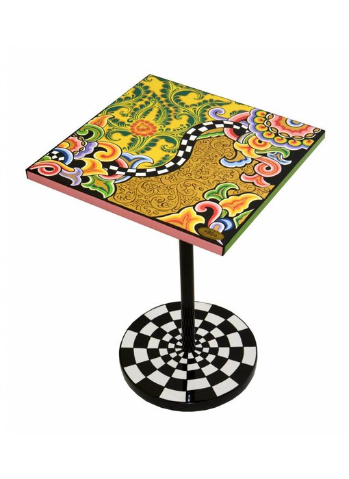 Toms Drag Side Table square, Floral-Gold