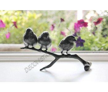 Trio Bronze Vögel auf Ast, grün patiniert