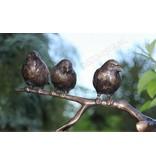 Trio of small birds on branch (gold-bronze)