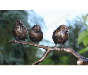Trio kleine Bronze Vögel auf Ast,  goldbraun
