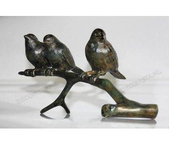 Trio Vögel auf Ast, Bronze - XL