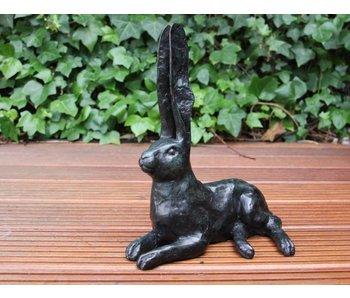 Bronze sculpture hare - green