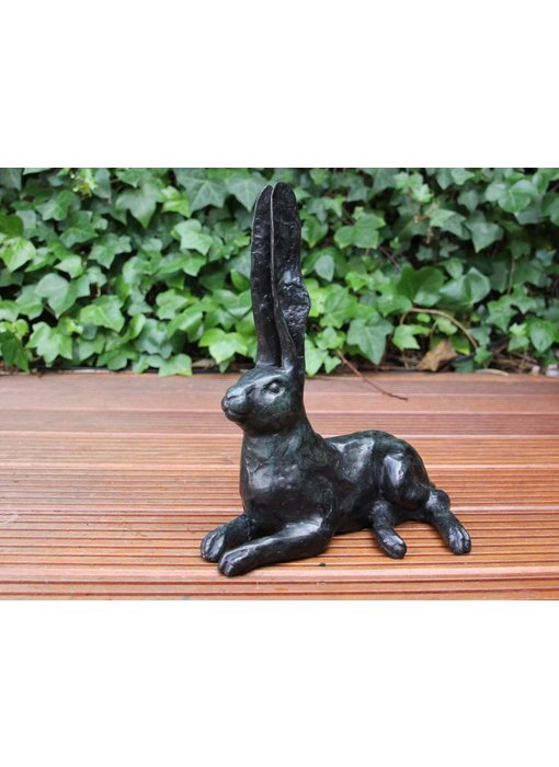 Bronze sculpture hare - green